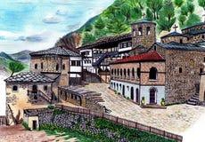 Hand draw old monastery Stock Photos