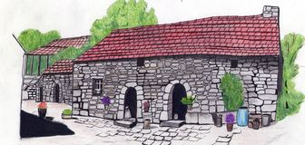 Hand draw old monastery. Hand drawing old monastery in Europe Royalty Free Stock Photos