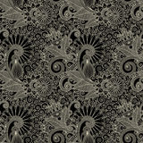 Hand draw ornate seamless flower paisley design Stock Image