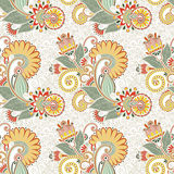 Hand draw ornate seamless flower paisley design Royalty Free Stock Photography