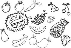 Hand draw outline sketch of fruits Stock Images