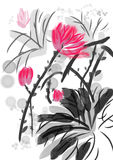 Hand draw paint lotus Royalty Free Stock Image