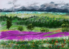 Hand draw paint wild field. ,cg graphic Royalty Free Stock Photography