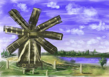 Hand draw paint windmill Stock Photography