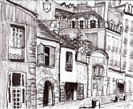 Hand draw paris building Royalty Free Stock Image