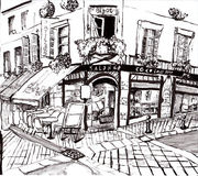 Hand draw paris coffee shop Royalty Free Stock Images