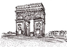 Hand draw paris de arc triomphe Stock Images