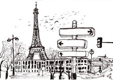 Hand draw paris Stock Photography