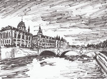 Hand draw paris river Stock Photo