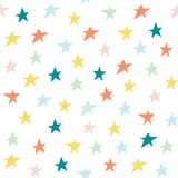 Hand draw pastel color stars seamless pattern background. Confetti celebration, Falling abstract decoration. Children`s print for. Hand draw multycolor stars royalty free illustration