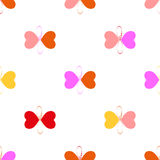 Hand draw pattern. Seamless  illustration. Butterflies hearts and love Royalty Free Stock Images