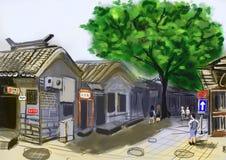 Hand draw peking beijing street. Cg paint Royalty Free Stock Images