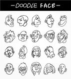Hand draw people face icons set Royalty Free Stock Photos