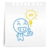 People think great idea cartoon_on paper Note. Hand draw people think great idea cartoon_on paper Note Stock Photo