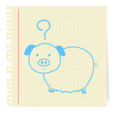 Pig cartoon on paper Note Stock Image