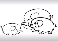 Hand draw pig family love Royalty Free Stock Image