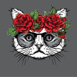 Hand draw portrait of cat wearing a wreath of flowers. Vector illustration Stock Photo