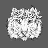 Hand draw portrait of tiger wearing a wreath of flowers. Vector illustration Stock Photo