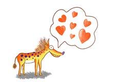 Ridiculous dog in love illustration stock illustration