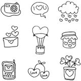 Hand draw of romance theme doodles Royalty Free Stock Photography