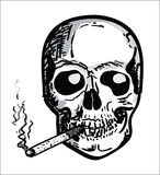 Hand draw Scull with Bones. Hand draw Smoking Scull with Bones stock illustration