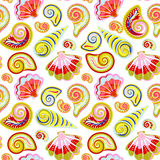 Hand draw sea shells pattern. Seamless texture with hand painted oceanic life objects.  Stock Photos