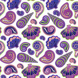 Hand draw sea shells pattern. Seamless texture with hand painted oceanic life objects. Vector summer background Stock Photography