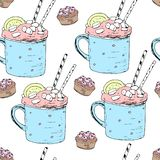 Hand draw seamless pattern. Cup of coffee, tea time. Vector illustration royalty free illustration