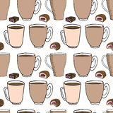 Hand draw seamless pattern. Cup of coffee, tea time. Vector illustration vector illustration