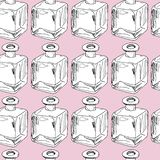 Hand draw seamless pattern. Glass bottles. Vector illustration stock illustration
