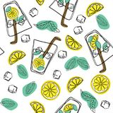 Hand draw seamless pattern glass of mojito, ice cubes, mint leaves, lime slice and whole lime. Alcohol cocktail. Cold mojito cockt vector illustration