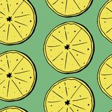 Hand draw seamless pattern of lemons with leaves. Vector illustration royalty free illustration