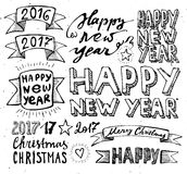 Hand draw Set Christmas and Happy New Year elements lettering Stock Photos