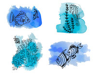 Hand draw set of different marina creatures Royalty Free Stock Photography
