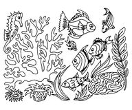 Hand draw set of different marina creatures Royalty Free Stock Photos