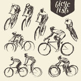 Hand draw set mountain bicyclist bike cycle sketch Stock Image