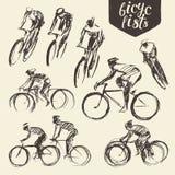 Hand draw set mountain bicyclist bike cycle sketch Stock Image