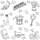 Hand draw set music doodles Royalty Free Stock Images