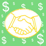 Shakehand dollar Background Stock Photo