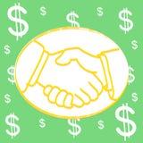 Shakehand dollar Background. Hand draw shakehand dollar Background vector illustration