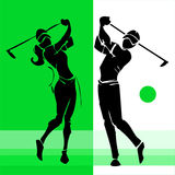 Hand draw silhouette of golf player couple Stock Photography