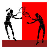 Hand draw silhouette of tennis player couple Royalty Free Stock Photo