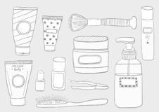 Simple Set of Cosmetics. Hand DrawVector Line Icons. royalty free illustration