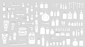 Simple Set of Cosmetics. Hand DrawVector Line Icons. stock illustration
