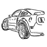 Hand draw simple sketch car vector illustration. Royalty Free Stock Photo