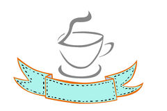 Free Hand Draw Sketch, A Cup Of Hot Drink With Ribbon Stock Photos - 49202463