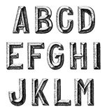 Hand draw sketch alphabet design Royalty Free Stock Photo