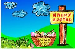 Hand draw sketch, background easter eggs, Stock Images