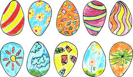Hand draw sketch, background easter eggs, Royalty Free Stock Photography