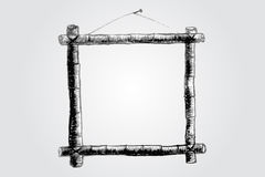 Hand draw sketch of bamboo frame Royalty Free Stock Image
